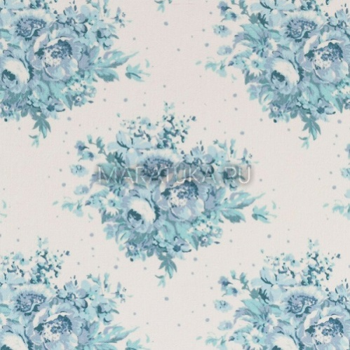Хлопок Summer Floral Blue On White