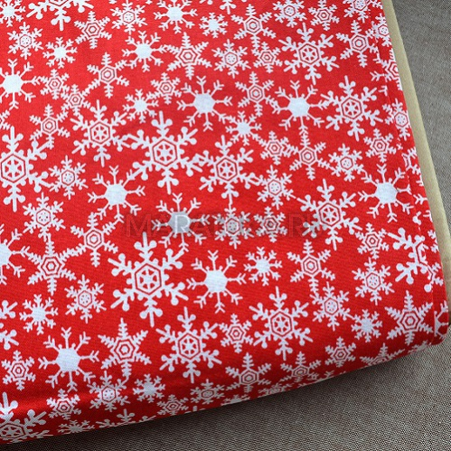 Хлопок Christmas Snowflakes Red